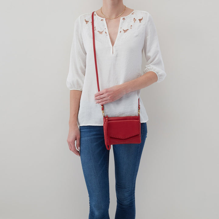 Scarlet Stroll Crossbody  Hobo  Velvet Pebbled Leather