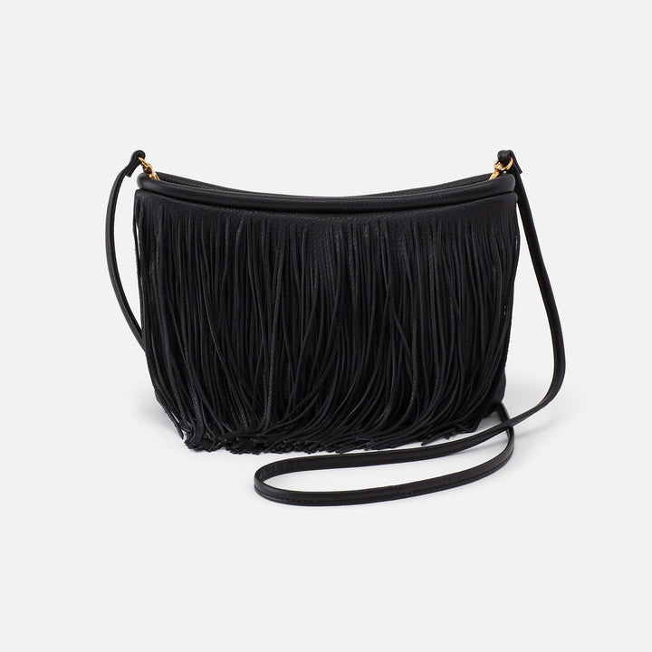 Black Wilder Fringed Crossbody  Hobo  Velvet Pebbled Leather