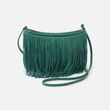 Garden Green Wilder Fringed Crossbody  Hobo  Velvet Pebbled Leather