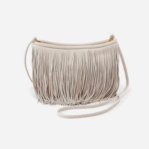 Powder White  Hobo Fringed Crossbody