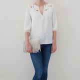 Powder White Wilder Fringed Crossbody  Hobo  Velvet Pebbled Leather