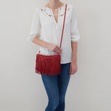 Scarlet Wilder Fringed Crossbody  Hobo  Velvet Pebbled Leather