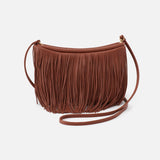 Toffee Wilder Fringed Crossbody  Hobo  Velvet Pebbled Leather