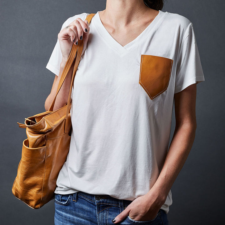 Leather Pocket Tee