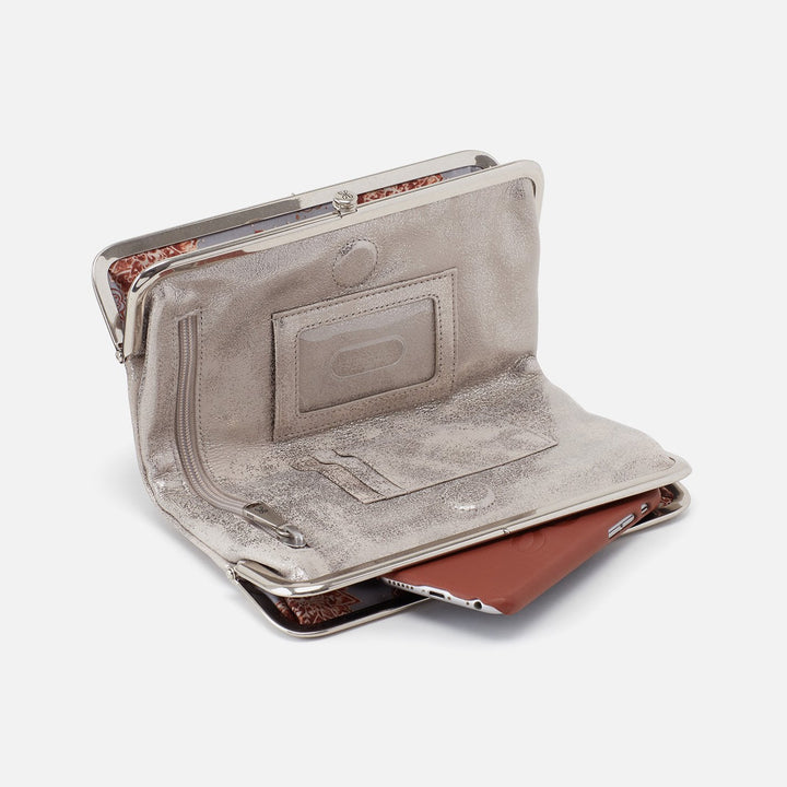 Distressed Platinum Lauren Clutch Wallet  Hobo