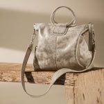 Distressed Platinum Sheila Large Satchel Hobo