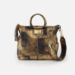 Heavy Metal Gold Sheila Large Satchel Hobo