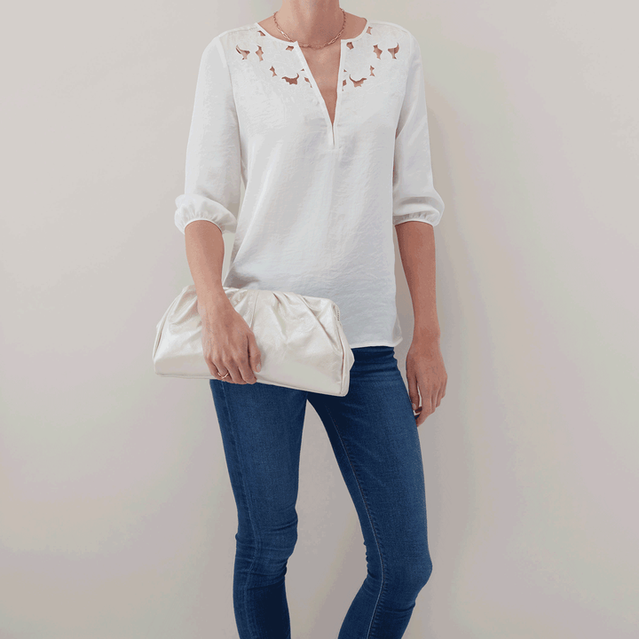 Pearled Ivory Angela Clutch  Hobo