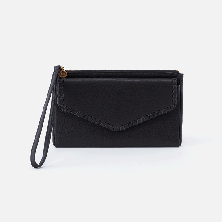 Aspen Black Leather Wristlet