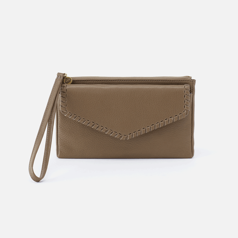 Aspen Grey Leather Wristlet