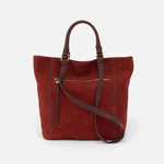 Ballad Red Suede Leather Tote Bag