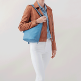 Blaze Blue Leather Backpack Bucket Bag