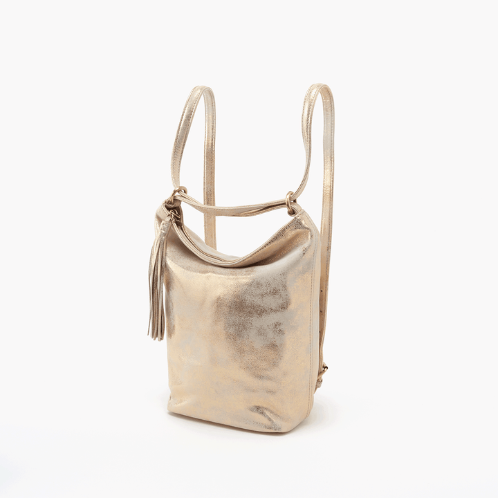 Blaze Gold Leather Backpack Bucket Bag