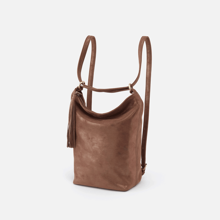 Blaze Metallic Brown Leather Backpack & Bucket Bag