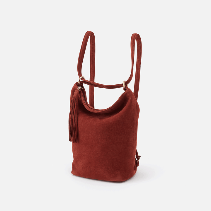 Blaze Red Suede Leather Bucket Backpack