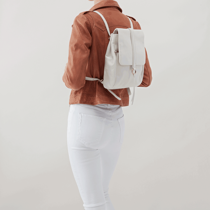 Bridge White Leather Backpack