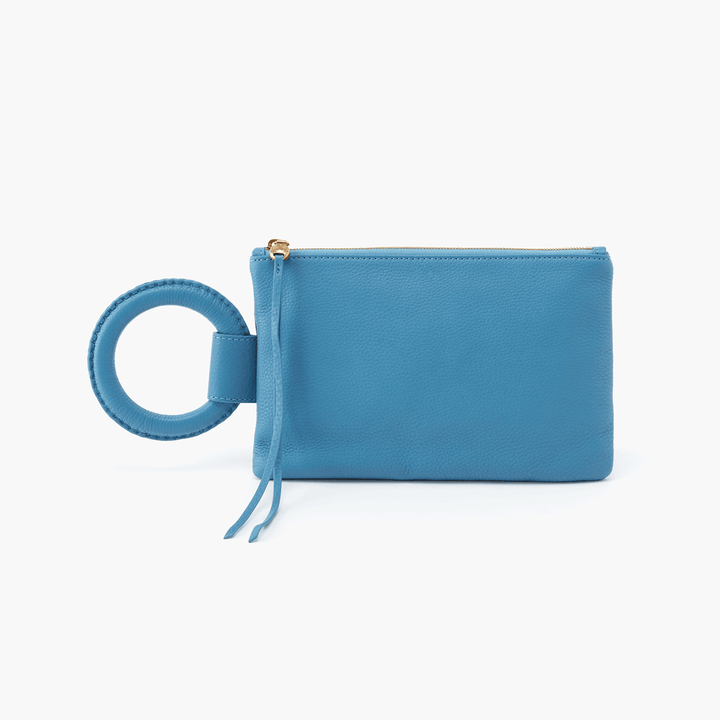 Candor Blue Leather Wristlet