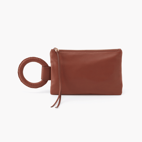 Candor Brown Leather Wristlet