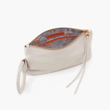 Candor White Leather Wristlet