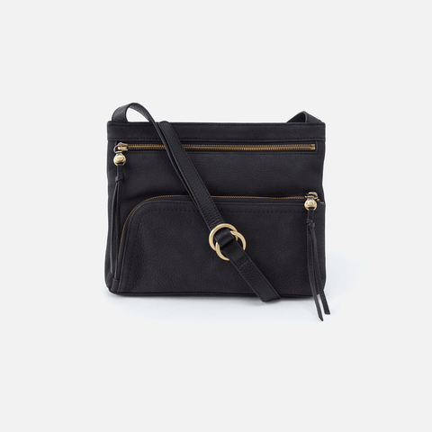 Cassie Black Leather Small Crossbody