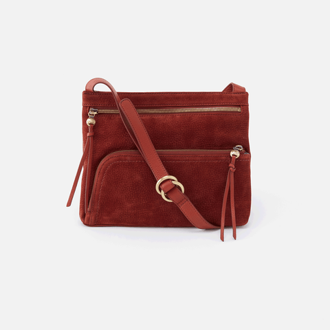 Cassie Red Suede Leather Small Crossbody