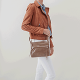 Cassie Grey Taupe Leather Small Crossbody