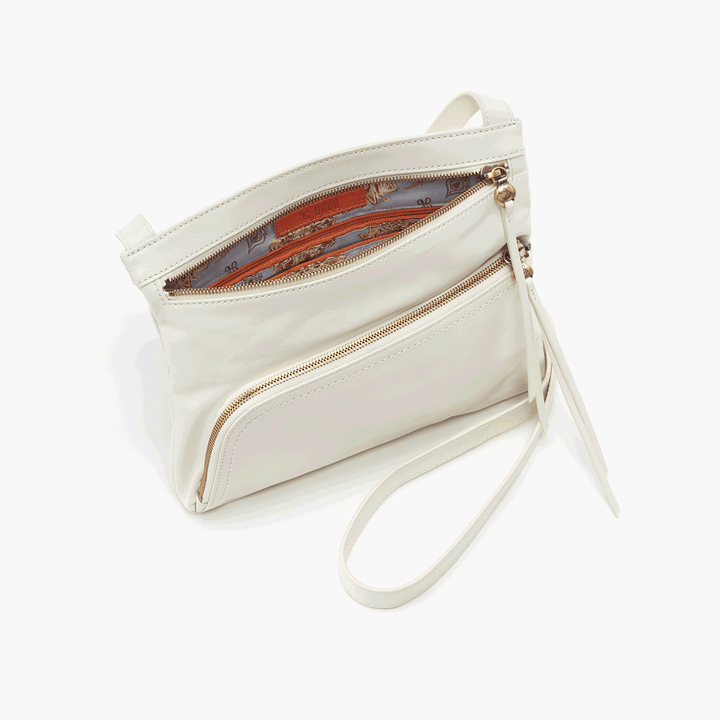 Cassie White Leather Small Crossbody