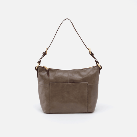 Charlie Grey Leather Shoulder Bag