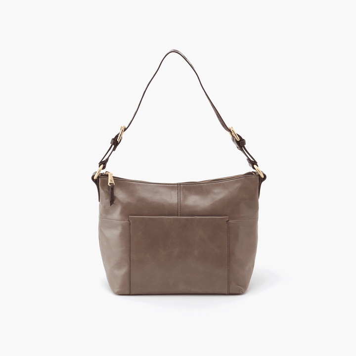 Charlie Grey Taupe Leather Shoulder Bag