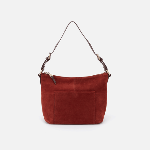 Charlie Red Suede Leather Shoulder Bag