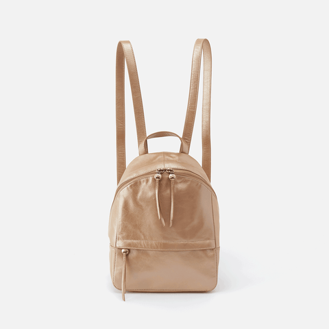 Cliff Gold Leather Backpack