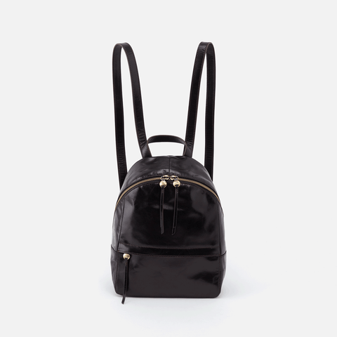Cliff Black Leather Backpack Purse