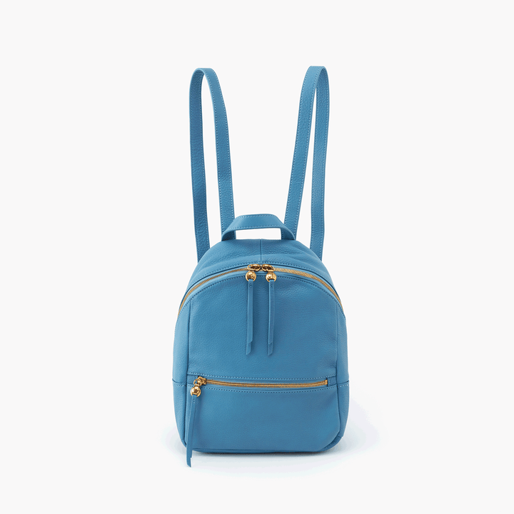 Cliff Blue Leather Backpack Purse