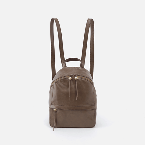 Cliff Grey Leather Backpack Purse