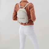Cliff White Leather Backpack Purse