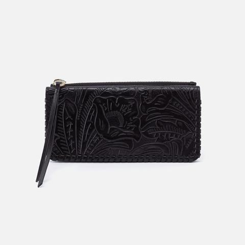 Coda Embossed Black Leather Large Wallet