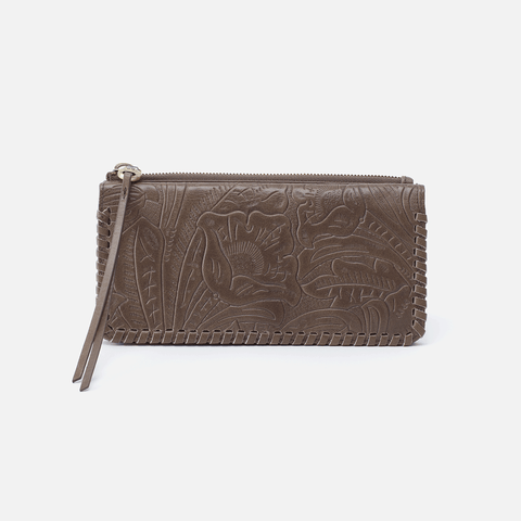 Coda Embossed Grey Leather Large Wallet