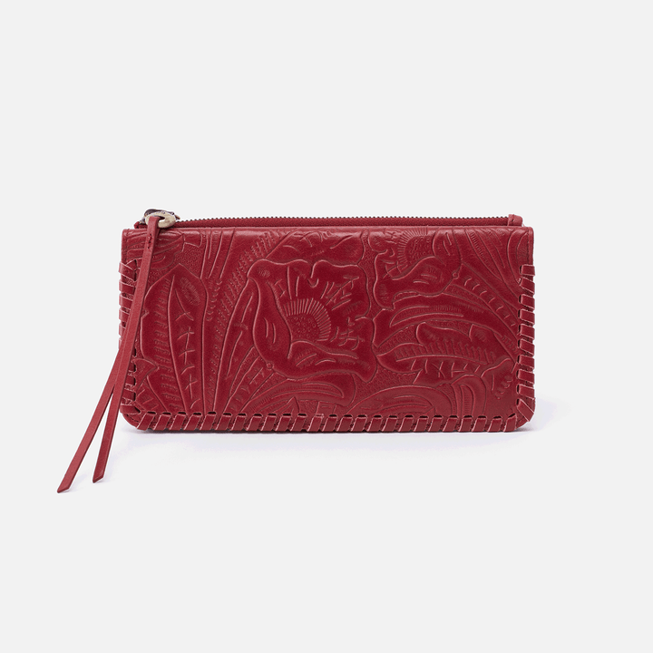 Coda Embossed Red Leather Large Wallet