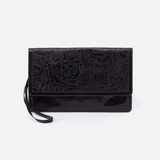 Crest Embossed Black Leather Clutch-Wristlet