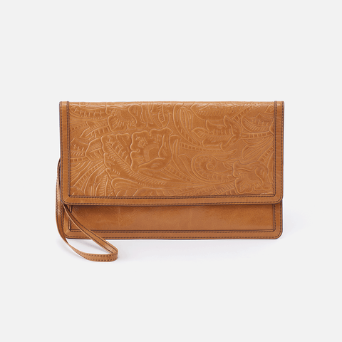 Crest Embossed Cognac Brown Leather Clutch-Wristlet