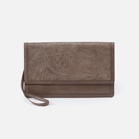 Crest Embossed Grey Leather Clutch-Wristlet
