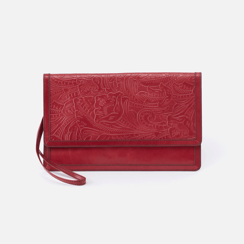 Crest Embossed Red Leather Clutch-Wristlet