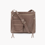 Crossfire Grey Taupe Leather Large Crossbody