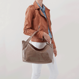 Current Grey Taupe Leather Satchel