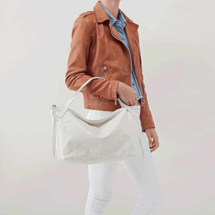 Current White Leather Satchel