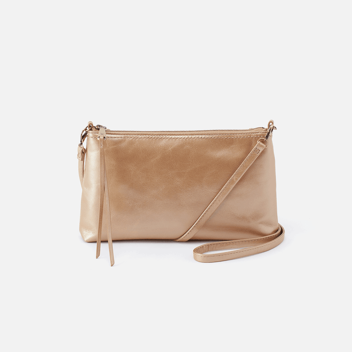 Darcy Gold Leather Convertible Crossbody Clutch