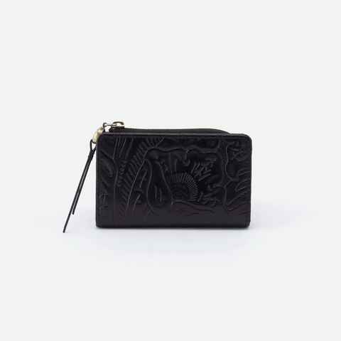 Dart Embossed Black Leather Credit Card Wallet