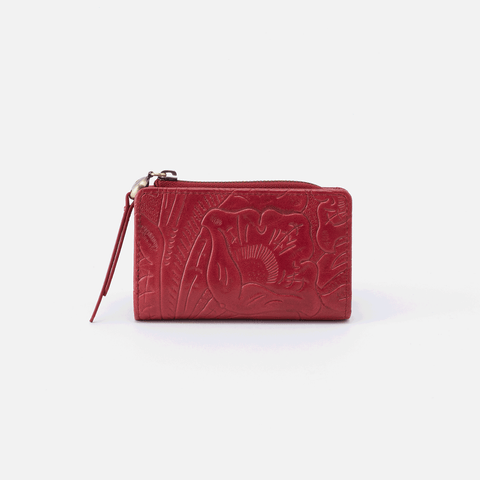 Dart Embossed Red Leather Credit Card Wallet