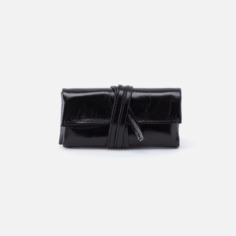 Dasher Black Leather Jewelry Roll