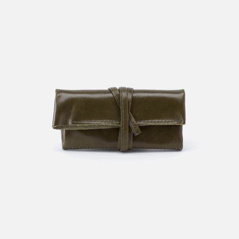 Dasher Green Leather Jewelry Roll